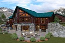 2012: Custom Log Prow 1890AR Reversed - Log Home Floor Plan